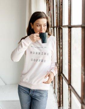 Happiness is...Morning Coffee Women's Crew Neck Sweatshirt in Ballet Pink
