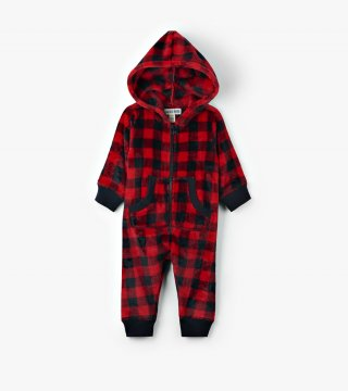 Little Blue House by Hatley Red Buffalo Plaid Baby Hooded Fleece Jumpsuit