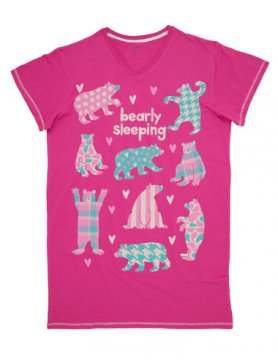 Little Blue House by Hatley Bearly Sleeping Nightshirt in Pink