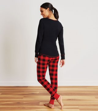 Little Blue House by Hatley Women's Red Buffalo Plaid Sleep Leggings in Red