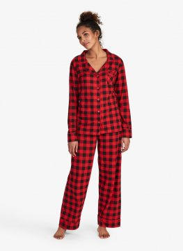 Little Blue House by Hatley Women's Red Buffalo Plaid Knit Pajama Set