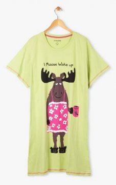 Little Blue House by Hatley Coffee I Moose Wake Up Women's Nightshirt in Sage