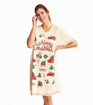 Little Blue House by Hatley Country Christmas Sleepshirt in Cream