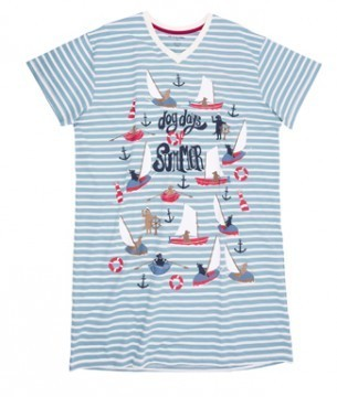 Little Blue House by Hatley Dog Days of Summer Women's Nightshirt in Blue Stripe