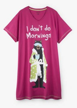 Little Blue House by Hatley I Don't Do Mornings Women's Nightshirt in Rasberry