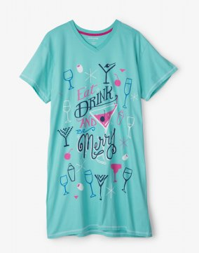 Little Blue House by Hatley Eat Drink & Be Merry Nightshirt in Aqua