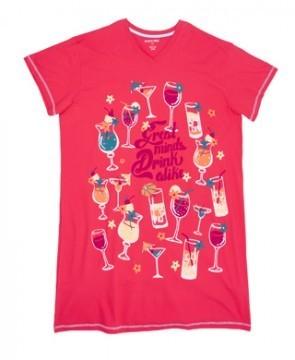 Little Blue House by Hatley Great Minds Drink Alike Women's Nightshirt in Pink
