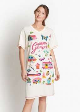 Little Blue House by Hatley Happy Glamper Sleepshirt in Ivory