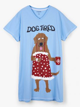Little Blue House by Hatley Holiday Dog Tired Women's Nightshirt