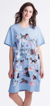 Little Blue House by Hatley Let Sleeping Dogs Lie Women's Nightshirt in Blue