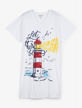 Little Blue House by Hatley Let There Be Light Women's Nightshirt in White