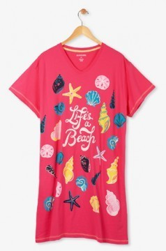 Little Blue House by Hatley Life's A Beach Women's Nightshirt in Red