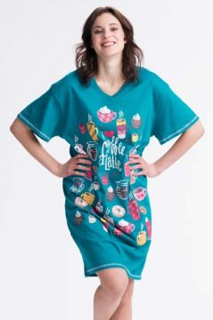 Little Blue House by Hatley Morning Coffee Women's Nightshirt in Aqua
