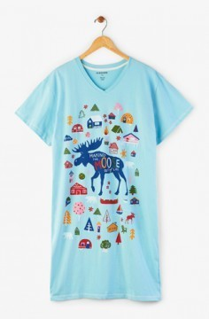 "Hatley Nature ""Making The Moose Out of Life"" Women's Nightshirt in Blue"