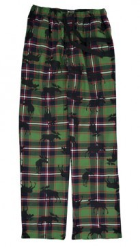 Little Blue House by Hatley Men's Plaid Moose Flannel Pajama Pant in Green