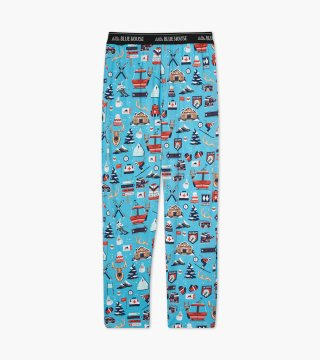 Little Blue House by Hatley Men's Ski Holiday Jersey Pajama Pants in Blue