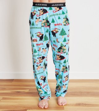 Little Blue House by Hatley Men's Wild About Christmas  Jersey Pajama Pant