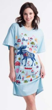 Little Blue House by Hatley Making The Moose Out of Life Women's Nightshirt in Blue