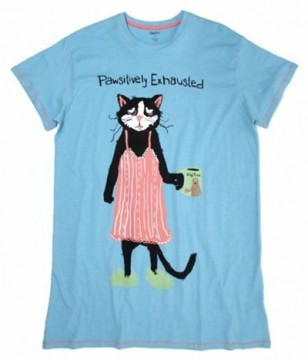 "Little Blue House by Hatley Nature ""Pawsitively Exhausted"" Women's Nightshirt in Blue"