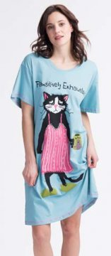 Little Blue House by Hatley Pawsitively Exhausted Women's Nightshirt in Blue
