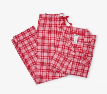 Little Blue House by Hatley Retro Christmas Plaid Women's Classic Flannel Pajama Set