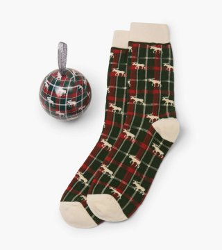 Little Blue House by Hatley Men's Moose On Plaid Socks In A Ball