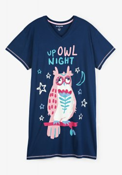 Little Blue House by Hatley Up Owl Night Women's Nightshirt in Navy