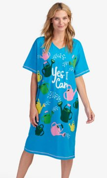 Little Blue House by Hatley Yes I Can Women's Nightshirt in Blue