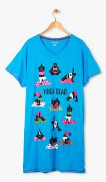Little Blue House by Hatley Yoga Bear Women's Nightshirt in Blue
