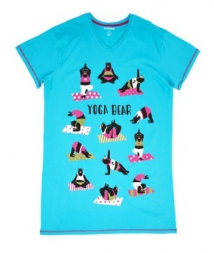 "Little Blue House by Hatley Nature ""Yoga Bear"" Women's Nightshirt in Blue"