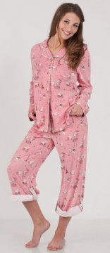 Munki Munki Women's Hippos In Paris Cotton Knit Pajama in Pink