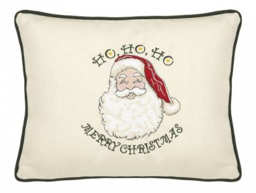 Ho Ho Ho Merry Christmas Cream Embroidered Gift Pillow