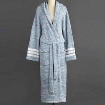 Kashwere Silver Blue/Creme Hooded Heather Robe