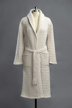 Kashwere Super Soft Basket Weave Shawl Robe in Malt