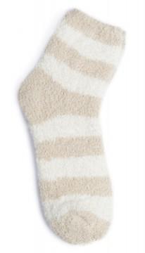 Kashwere Plush Chenille Lounging Sock in Malt/Creme Stripe