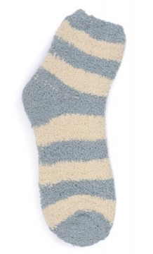 Kashwere Plush Chenille Lounging Sock in Silver Blue/Malt Stripe