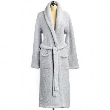 Kashwére Signature Shawl Collared Robe in Ice Blue