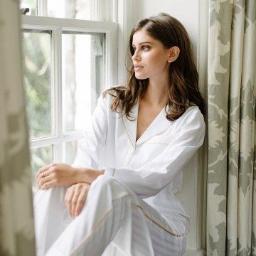 KIP. Women's Premium Cotton Classic Pajama Set in Lily White