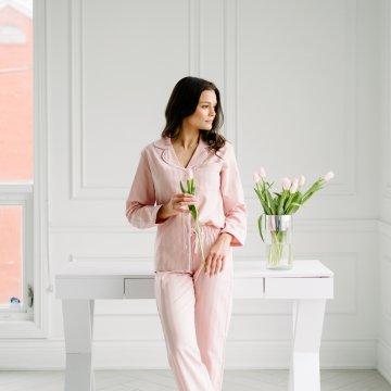 KIP.  Women's Premium Cotton Classic Pajama Set in Soft Rose