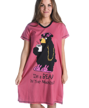 Lazy One Bear In The Mornings V-Neck Nightshirt in Pink