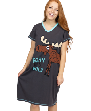 Lazy One Born to be Wild V-Neck Nightshirt in Grey