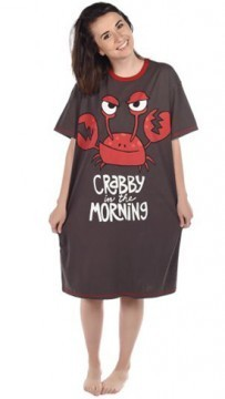 "Lazy One ""Crabby In The Morning"" Women's Nightshirt in Dark Grey"