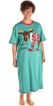 Lazy One I Don't Do Mornings Women's Nightshirt in Aqua