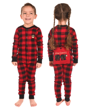Lazy One Kids Unisex Red Plaid Bear Cheeks FlapJack