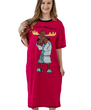 Lazy One I Need a Mooseage Nightshirt in Red