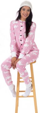 Lazy One Adult Unisex Classic Moose FlapJack in Pink