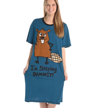 Lazy One I'm Sleeping Dammit Nightshirt in Blue