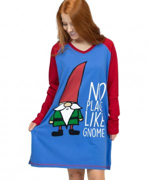 Lazy One No Place Like Gnome V-Neck Nightshirt in Blue
