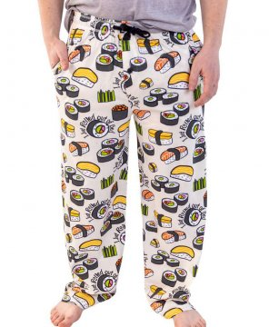 Lazy One Men's Rolled Out of Bed Sushi Cotton Knit Pajama Pant