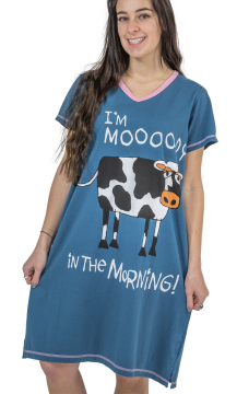 Lazy One Moody in The Morning Women's Nightshirt in Blue